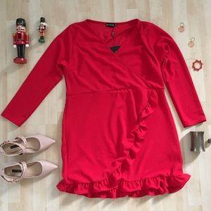 Pretty Little Thing Red Ruffle Detail Wrap Dress